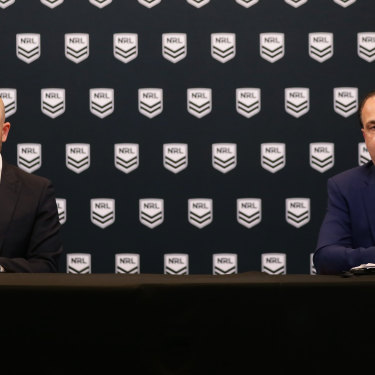Game over: Former NRL chief executive Todd Greenberg and Peter V'landys in March, announcing that the season has been suspended.