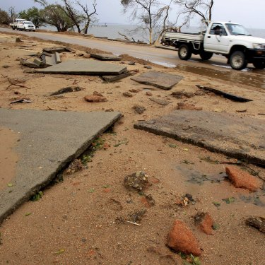 Road damage from Cyclone Yasi in Cardwell, far north Queensland, in 2011.