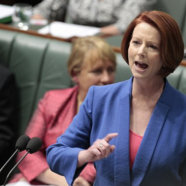 "Julia Gillard delivers her ""misogyny speech"" in October 2012."