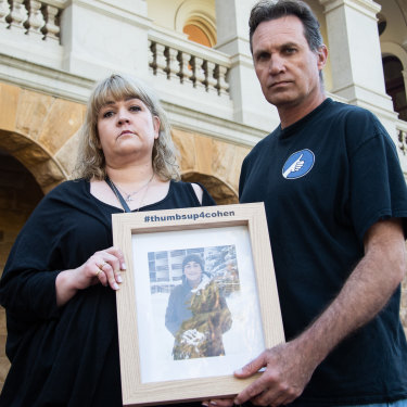 Pamella and Chris Fink are taking the fight over their son Cohen's death in year 12 to the Supreme Court.