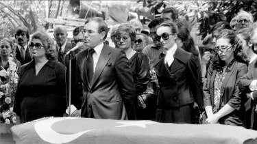 Then-federal Treasurer John Howard addresses the service for Sarik Ariyak and his bodyguard at the Turkish consulate in Woollahra on December 24, 1980.