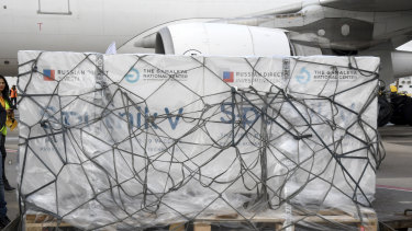 Boxes loaded with the Russian Sputnik V COVID-19 vaccine arrive at Tunis airport in Tunisia.