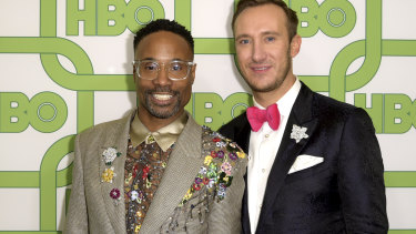 Billy Porter and Adam Smith at the Golden Globes afterparty.
