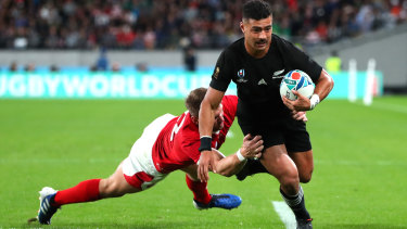 Richie Mo'unga scores for the All Blackjs during their 40-17 Rugby World Cup third-place play-off win over Wales.