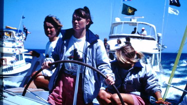 Tracy Edwards at the helm of the Maiden in the 1989-90 Whitbread round-the-world race.