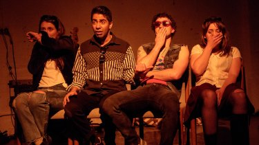 Grace Cummings, Sahil Saluja, Zachary Giles Pidd, and Brigid Gallacher (left to right) in in Prehistoric.