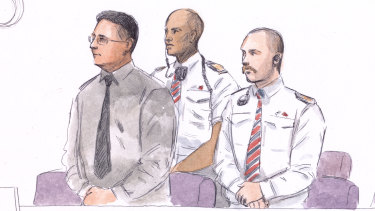 A courtroom sketch of Bradley Edwards, drawn on the first day of his murder trial.