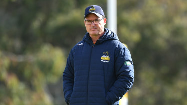 Dan McKellar looks over Brumbies training.