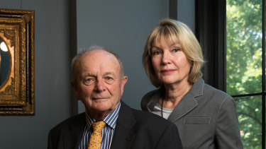 Chairman Gerry Harvey and wife, chief executive Katie Page, at the company's AGM on Wednesday.