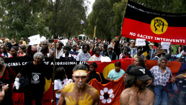 A protest march against the government intervention in the Northern Territory