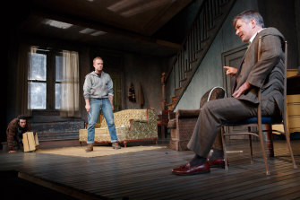 Alec Baldwin, right, with (from left) Tom Sturridge and Ben Foster in the 2013 Broadway production of Orphans.