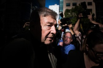 Cardinal George Pell arriving at the Melbourne County Court for sentencing in 2018.