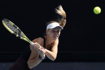 Denmark's Caroline Wozniacki practices at Melbourne Park on Saturday as she prepares for her swansong tournament appearance.