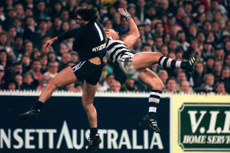 Clash of the titans: Gary Ablett snr and Stephen Silvagni.