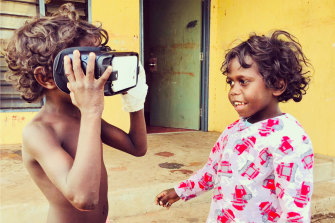 VR is more fun when enjoyed with a friend, as these young children discovered during the filming of Carriberrie.