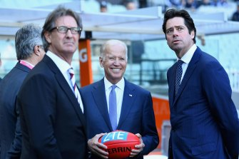 Joe Biden at the MCG as Carlton took on West Coast.