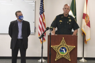 Pinellas County Sheriff Bob Gualtieri, right, pictured with Oldsmar Mayor Eric Seidel, explains how the hacker gained access to the system.