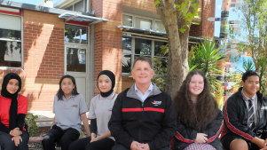 Hampton Park Secondary College students with the principal L-RFadak Jabbar, Vernon Santiago, Zahra Akhlaqee, Wayne Haworth, Paige Read, Skyline Paileguto.