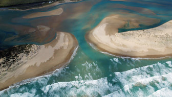 The mouth of the Murray River, near Goolwa, in South Australia.
