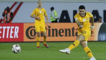 Wonder strike: Tom Rogic's  injury-time stunner secured the three points for Australia against Syria.