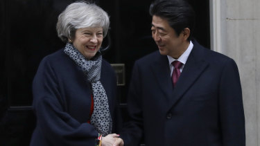 British Prime Minister Theresa May welcomes Japanese Prime Minister Shinzo Abe to Downing Street.