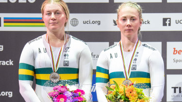 Kaarle McCulloch with Steph Morton after winning team sprint silver at the world titles in February.