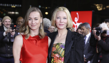 Yvonne Strahovski, who plays a wrongfully detained woman in Stateless, with Cate Blanchett at the premiere at the Berlin Film Festival in February.