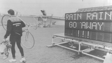 The scene at the Meadowbank velodrome after rain delayed events.