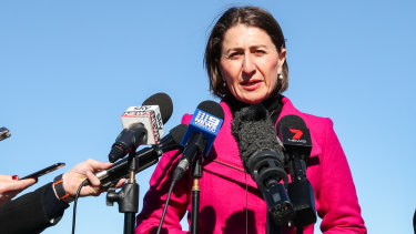 Premier Gladys Berejiklian in Mascot on Sunday.