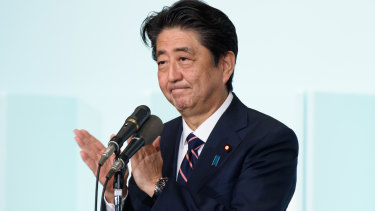 Shinzo Abe won his third straight three-year term as leader of the ruling Liberal Democratic Party on Thursday, taking him a step closer to becoming Japan's longest-serving Prime Minister.