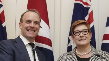 British Foreign Secretary Dominic Raab meets Foreign Affairs Minister Marise Payne.