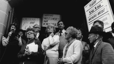 Christian opponents of the Crime (Amendment) Bill gather on May 15, 1984.