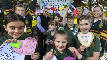 Students at Chatham Primary School in Surrey Hills surprised staff with thank you messages on Monday.