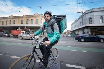 Former Deliveroo Australia CEO Levi Aron on his Deliveroo bike.