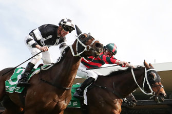 Adam Hyeronimus riding Wu Gok (right) to victory in the Winter Cup last month at Rosehill.