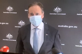 Health Minister Greg Hunt was wearing  a face mask on Monday.