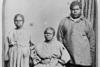 Truganini, left, with Bessy Clark and William Lanney.