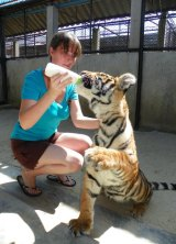 Ms Malik with Coledo the tiger at Samutprakan Crocodile Farm and Zoo in Thailand in about 2011.