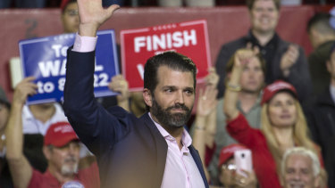 Donald Trump Jr at rally for his father US President Donald Trump in El Paso, Texas, in February.