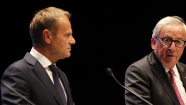 Donald Tusk, president of the European Union (left), said the Chequers plan will not work.