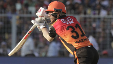 David Warner on the attack for the Sunrisers Hyderabad in their IPL game against Kolkata Knight Riders.