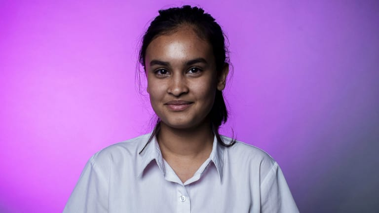 Aisheeya Huq, a 16-year-old student from Auburn Girls High School, says young people 'are going to have to face the consequences' of climate change long after the current political leaders are gone.