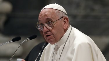 Pope Francis speaks during a meeting with the dioceses of Rome, at the Vatican Basilica of St. John Lateran, in Rome.