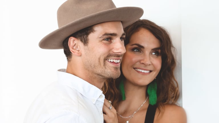 """PDA levels strong: Matty """"J"""" Johnson and Laura Byrne at the Longines lunch on Broadbeach on Tuesday."""