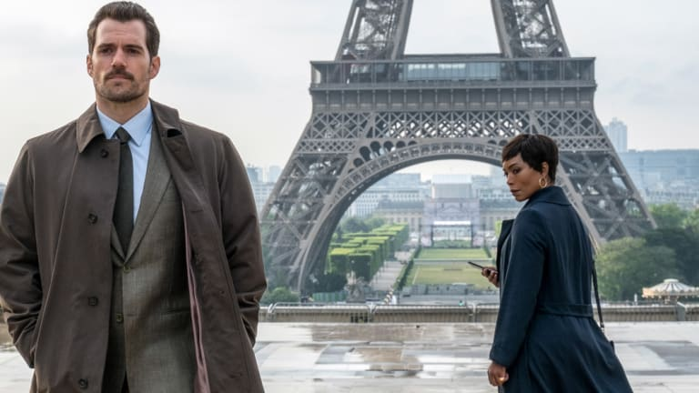A film still with Bassett and co-star Henry Cavill from Mission Impossible: Fallout.