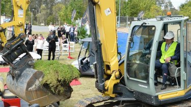 Paul Pisasale operated an excavator at the Brookwater launch.