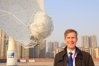 Dr Douglas Bock, director of CSIRO Astronomy and Space Science at the inauguration ceremony for the first Square Kilometre Array (SKA) prototype dish in Shijiazhuang, the capital city of Hebei.