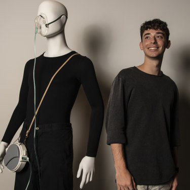 Matthew Langsam with his design project Oxyreel, a wearable supplemented oxygen device, entered in the 2020 HSC.
