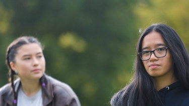 Year 12 students Kezziane Chan (foreground) and Sylvia Griffin.