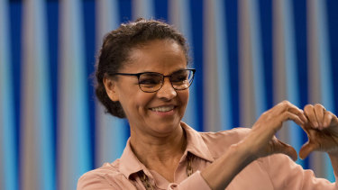 Marina Silva, presidential candidate of the Sustainability Network Party, gestures to the audience before a live, televised presidential debate last week.